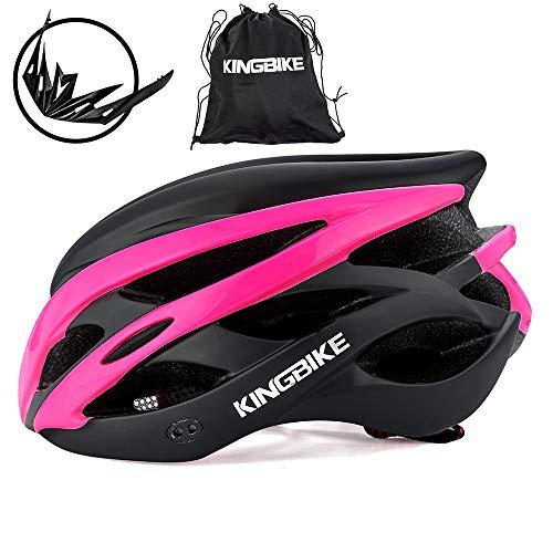 KING BIKE Fahrradhelm Helm Bike Fahrrad Radhelm FüR Herren Damen Helmet Auf Die Helme Sportartikel Fahrradhelme GmbH RennräDer Mountain Schale Mountainbike MTB (schwarz-rosarot, L(56-60CM))