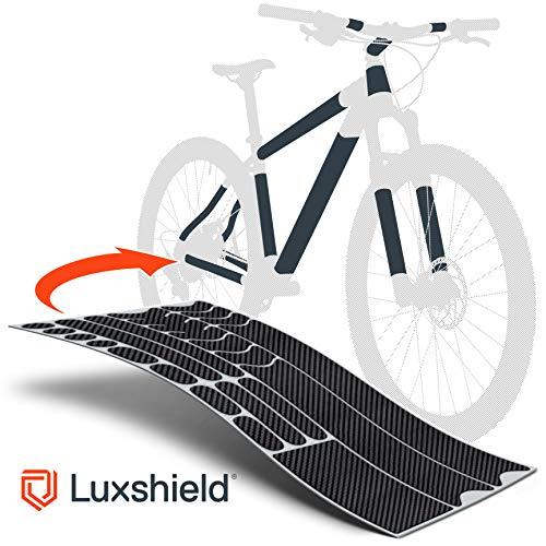 Luxshield Fahrrad Lackschutzfolie für Mountainbike, BMX, Rennrad, Trekkingrad etc. – 21-teiliges Rahmen-Set gegen Steinschlag – Carbon Optik & selbstklebende Qualitätsware aus Deutschland