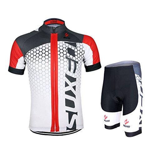 GWELL Männer Fahrradtrikot Set Fahrradbekleidung Atmungsaktiv Fahrrad Trikot Kurzarm + Radhose mit 3D Sitzpolster weiß rot XL