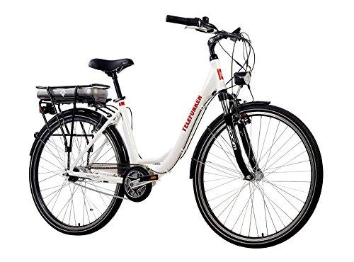 Telefunken E-Bike Damen Elektrofahrrad Alu, weiß, 7 Gang Shimano Nabenschaltung – Pedelec Citybike leicht, Mittelmotor 250W und 10Ah/36V Lithium-Ionen-Akku, Reifengröße: 28 Zoll, Multitalent C750