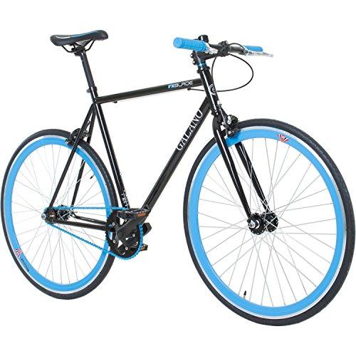 Galano 700C 28 Zoll Fixie Singlespeed Bike Blade 5 Farben zur Auswahl, Rahmengrösse:59 cm, Farbe:Schwarz/Blau