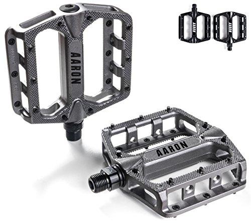 Aaron Rock Plattform Mountainbike/MTB / Flat Pedale mit hochwertigen Industrie-Kugellagern und Top Grip, Trekking, E Bike Fahrradpedale aus Alu, Grau