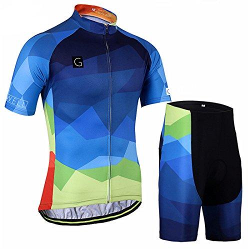 GWELL Herren Farbverlauf MTB Fahrradbekleidung Set Radtrikot + Radhose mit Sitzpolster L