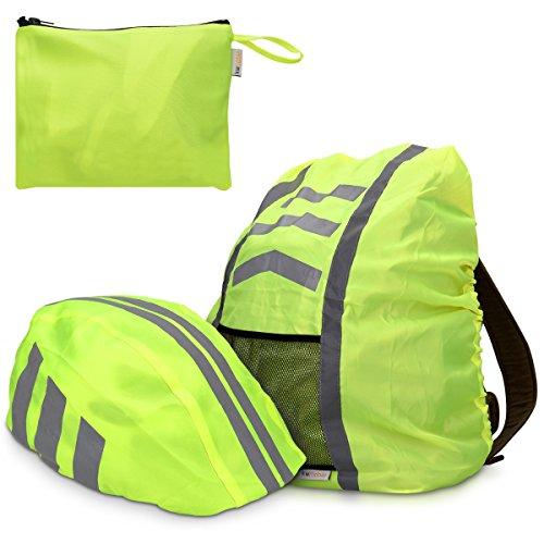 kwmobile Regenschutz Set für Helm Rucksack – Helmüberzug Regenhülle Schulranzen Helmschutz – Schutzhülle Fahrradhelm Ranzen – Unisex